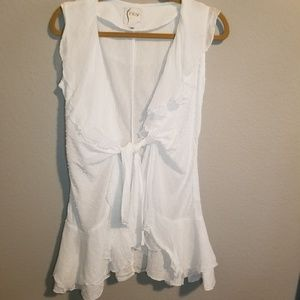 Finley Flounced Wrap Solid White Tunic